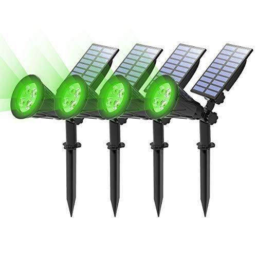 (4 Unidades) T-SUN Foco Solar, Impermeable Luces Solares Exterior, Luz de Jardín, 2 Modos de Iluminación Opcionales, ángulo de 180° Ajustable, Luz de Proyecto Solar para Entrada, Camino.(Verde)