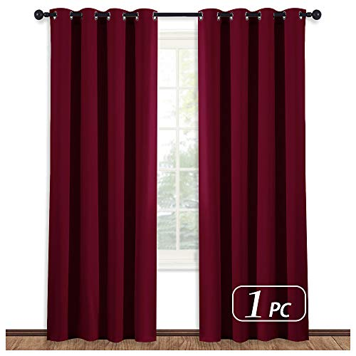 NICETOWN Window Treatment Curtains Blind - (Burgundy Red) Home Decor Energy Smart Thermal Insulated Window Treatment Drape/Drapery for Patio Door, 52x95 Inch,1 Piece