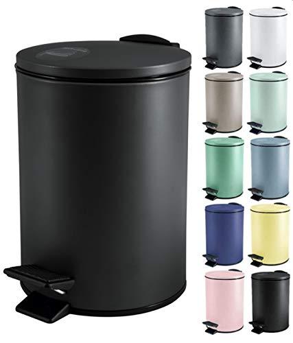 Spirella Poubelle 3 ou 5 litres Acier Inoxydable à Fermeture Douce avec récipient intérieur Adelar Salle de Bains Poubelle à pédale Boîte à ordures Frein de Chute Noir