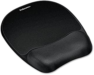 Fellowes 9176501 Mouse Pad w/Wrist Rest, Nonskid Back, 7 15/16 x 9 1/4, Black