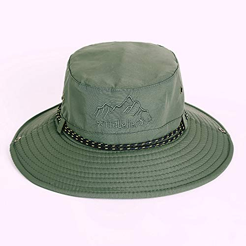 zhuzhuwen Sombrero de Pescador Sombrero de Hombre Sombrilla Grande Protector Solar Gorra de protección UV Sombrero Sombrero de Alpinismo de Pesca 6 Ajustable