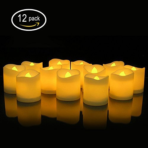 Winfi LED Tea Lights, Electric Candles,Realistic and Bright Flickering Bulb Battery Operated Flameless Candles for Seasonal & Festival Celebration, Warm White and Wave Open, Pack of 12