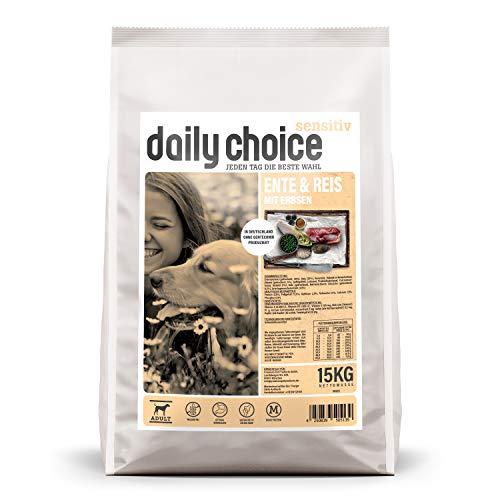 daily choice sensitiv | 15 kg | Trockenfutter für Hunde | Ente & Reis mit Erbsen | Monoprotein und weizenfrei | Für ernährungssensible Hunde geeignet | Mit Chicorrée und Grünlippmuschel