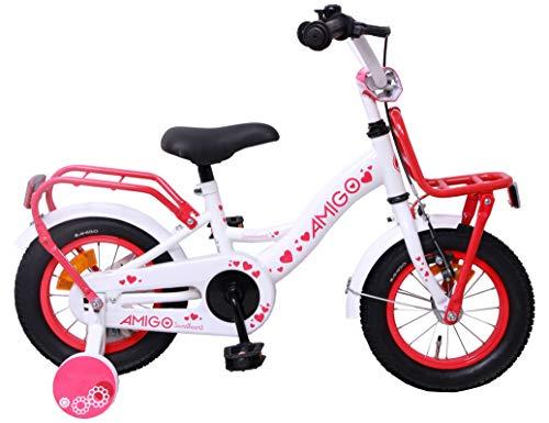 AMIGO Sweetheart - Kinderfiets - 12 Inch - Meisjes - Met zijwieltjes en terugtraprem - Wit
