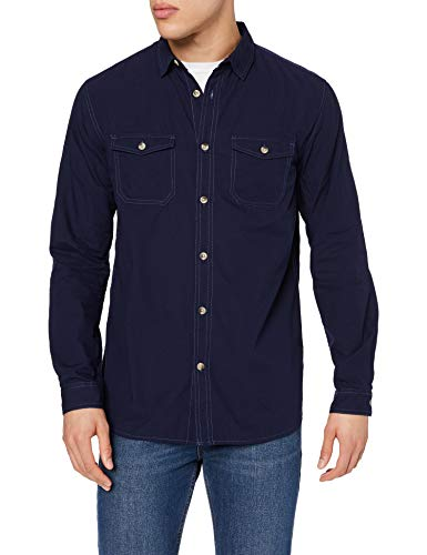 Marca Amazon - find. Camisa Hombre, Azul (Navy), M, Label: M