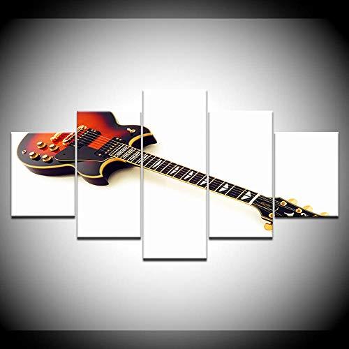 Axqisqx wanddecoratie voor thuis HD gedrukt canvas 5 delen kunst van elektrische gitaar ketting schilderij muziekinstrumenten foto's