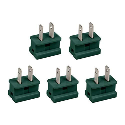Holiday Christmas Lighting Outlet Male Green Slip Plug, Vampire Plug, Gilbert Plug, Zip Plug, 25 PACK (SPT-1)