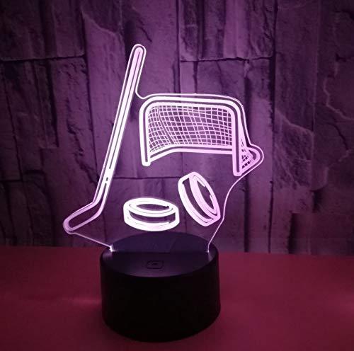 Fqz93in Hockeyschläger 3D Licht 3D Hologramm Lampe 7 Farbwechsel Nachtlicht Baby Touch Schalter Farbige Lichter Led USB Schreibtischlampe Atmosphäre Lampe