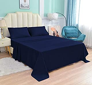 Queen 4 Pieces Bed Sheet Set 1800 Thread Count, (1 Flat Sheet, 1 Fitted Sheet, 2 Pillowcases) Navy/Queen