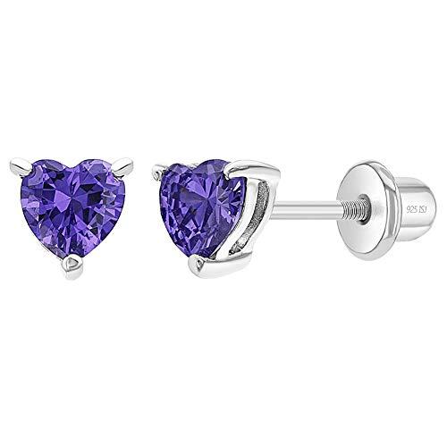 Orecchini da bambina a forma di cuore, con chiusura a vite, in argento sterling 925, con zirconia cubica e Argento, colore: Viola, cod. SS-03-00284