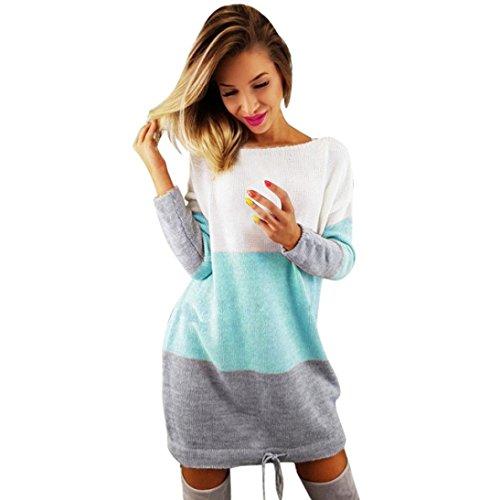 VJGOAL Damen Pullover, Damen Mädchen Stricken Party Casual Urlaub O Kragen Kleid Langarm Frühling Wintwe Tops Pullover (M, Blau)
