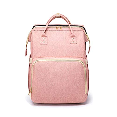 Travel Bag Diaper Backpack with Bassinet Foldable Baby Bed with Stroller Straps Changing Station Portable Folding Crib with Mattress Infant Sleeper Multifunctional Pockets (Pink)