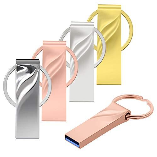 USB 3.0 64GB 5 Piezas Pen Drives Portátil Memoria Flash USB - Pendrive USB 3.1 64 GB 5 Unidades Almacenamiento de Datos Externo - Metal Multicolor Alta Velocidad Unidad Flash con Llevaro by Datarm