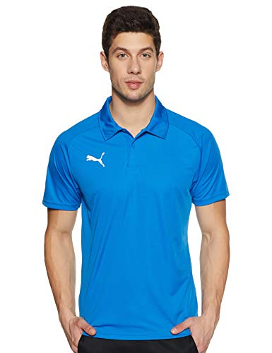 PUMA Erwachsene Liga Sideline Polo Poloshirt, Electric Blue Lemonade White, M