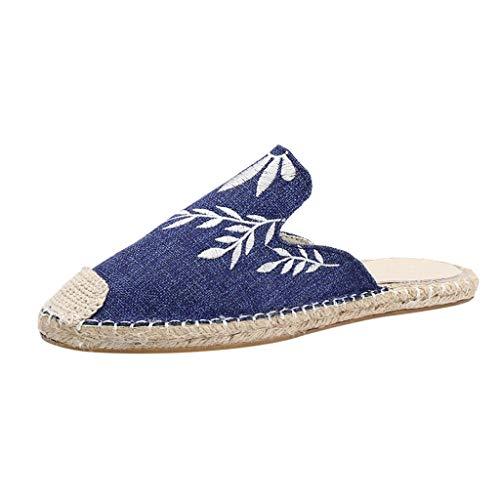 Femmes Chic Broder Mule Mocassins Dames Slip on Chaussures Plates Pantoufles Chaussons Dames Confortables Chaussures Décontractées