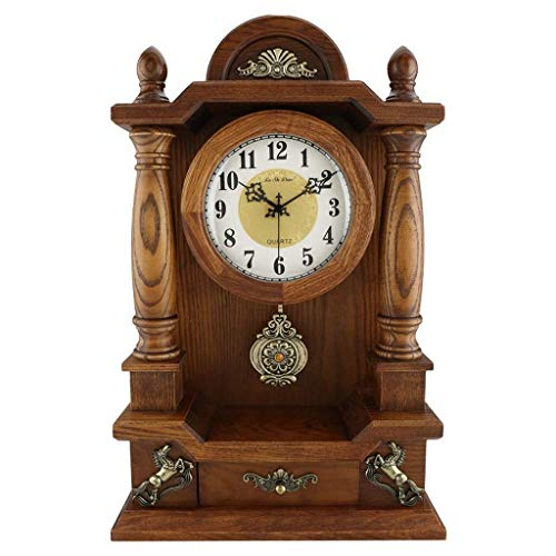 SOAR Tischuhren Europäische Massivholz-Uhr Uhr Wohnzimmer Antike Tischuhr Weinlese-dekorative Taktge kreative Haupt Uhr Start im Freien