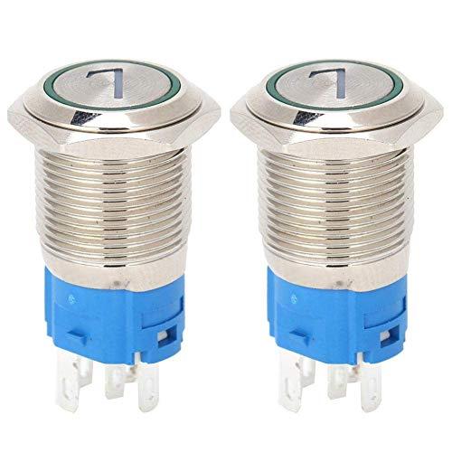 Interruptor de botón de Acero Inoxidable de 5 Pines, 2 Piezas, Interruptor de botón Redondo de 16 mm, Interruptor de reinicio automático con luz, número 7