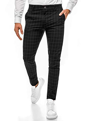 OZONEE Herren Chino Hose Chinos Stoffhose Chinohose Anzughose Anzug Herrenhose Röhrenhose Pants Elegant Business Slim Fit Regular Klassisch Classic Basic DJ/5515 SCHWARZ W31
