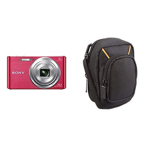Sony DSC-W830 Digitalkamera (20,1 Megapixel, 8X optischer Zoom, 6,8 cm LC-Display, 25mm Carl Zeiss Vario Tessar Weitwinkelobjektiv) pink & AmazonBasics Kameratasche für Kompaktkameras, groß