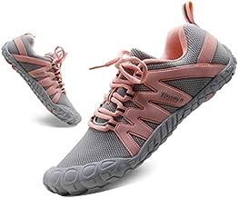 Women's Barefoot Shoes Cross Training Minimalist Running Zero Drop Arch Support Outdoor Tennis Sneakers Yoga Hiking Trekking Gray Pink US Size 10