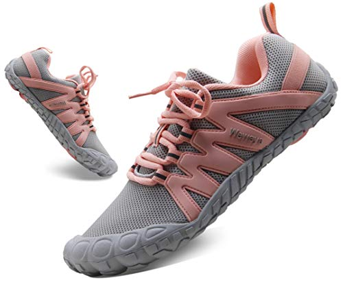 Breathable Women's Minimalist Barefoot Road Running Shoes Comfortable Long Standing Warehouse Work Shoes Gray Pink US Size 5.5