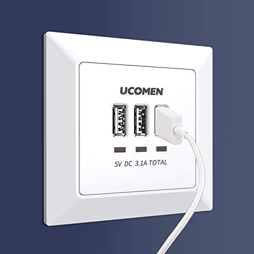 UCOMEN 3.1A USB Wand steckdose 3 USB Ports Laden aller mobilen Geräte Passent in standard Unterputzdose,weiß (1 Pack)