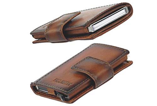 Figuretta Cartera de piel auténtica para tarjetas de crédito con compartimento para billetes y monedas, protección RFID para tarjetas – Slim Wallet – Protección anti skim.