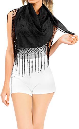 LA LEELA Schal für die Gesichtsbedeckung Frauen Badebekleidung Abdeckung Pareo Strand Sarong Röcke Schwarz_Z130 Länge: 60