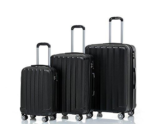 BEIBYE TSA-Schloß 2080 Zwillingsrollen 3 tlg. Reisekofferset Koffer Kofferset Trolley Trolleys Hartschale in 12 Farben (Schwarz)