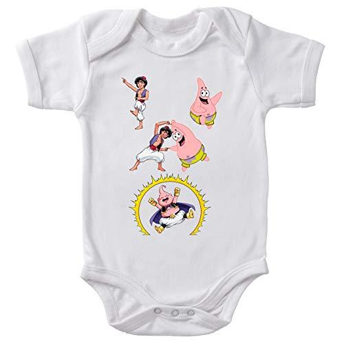 Body bébé Manches Courtes Blanc Parodie Bob l'éponge - Aladdin - Boubou, Patrick Star et Aladdin - Une Fusion de génie.(Body bébé de qualité supérieure de Taille 9 Mois - imprimé en France)