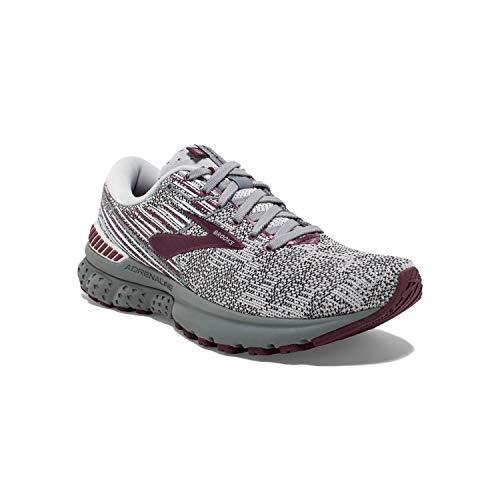 Brooks Womens Adrenaline GTS 19 Running Shoe - Grey/White/Fig - B - 6.0