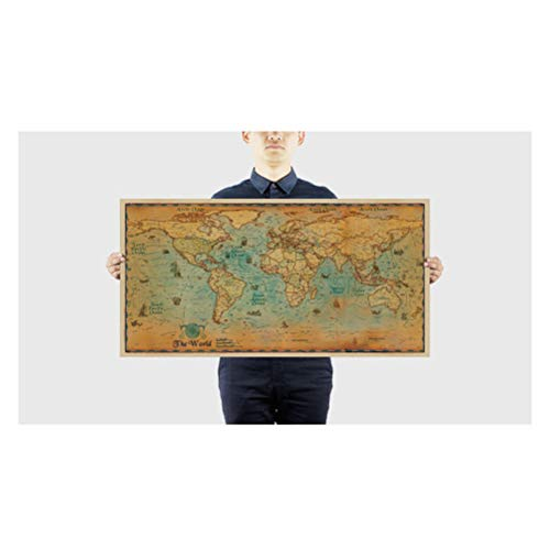 Sarplle Vintage World Map Old Nautical XXL Poster HD Mural Wall Poster Globe Continents Atlas World Map Retro Wall Deco Worldmap 100 * 51cm