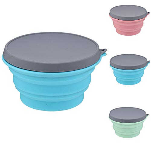 Collapsible Camping Cup Bowl Basin Silicone Folding Bucket Bowl Retractable Mug Portable Folding Travel Accessory Outdoor Bowl Blue