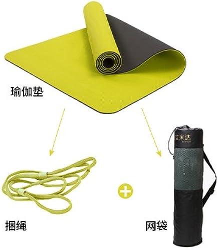 YOOMAT 65cm Yoga TPE élargir Mat et Anti-Slip Mat Fitness Starter épais Tapis de Yoga Stretch 10MM (Starter), Fluorescent vert164382