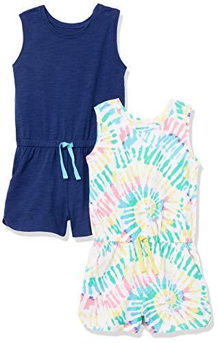 Spotted Zebra Knit Sleeveless Rompers Jumpsuits-Apparel, 2er-Pack Batikfärbung/Marineblau, S