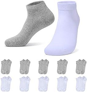 YOUCHAN Zapatillas Calcetines Hombres Mujeres 10 Pares Cortos Medio Calcetines Patucos Algodón Unisex(Blanco-gris,47-50)