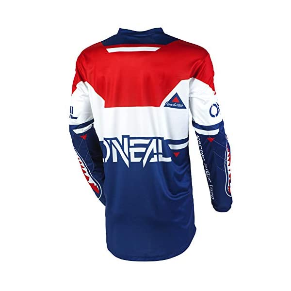 Cycling Jerseys O'Neal | Motorcycle-Jersey | Enduro Motocross | Padded Elbow Protection, V-Neck, Breathable Fabrics | Element Jersey Warhawk | Adult | Blue White Red | Size M