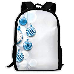 Adult Travelc Laptop Backpack,New Year Theme A Clock And Glass Balls Illustration Christmas Decoration Pattern,College School Computer Bookbag