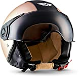 MOTO H44  Casco Demi-Jet Piloto, ECE certificato, Marrone/Leather Marrone, L (59-60cm)