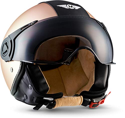 "MOTOHelmets® H44 ""Vintage Bronze"" · Jet-Helm · Motorrad-Helm Roller-Helm Scooter-Helm Bobber Mofa-Helm Chopper Retro Cruiser Vintage Pilot Biker · ECE Visier Schnellverschluss Tasche S (55-56cm)"