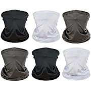[6 Pack] Unisex Sun UV Protection Face Bandana, Reusable Washable Fabric Cloth Half Mask Scarf for Cycling Motorcycle Hiking, Breathable Neck Gaiter Balaclava Headwear for Men Women-6