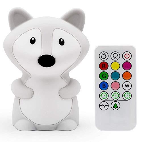 Luces de noche para niños, lámpara de guardería, linda habitación de los niños, lámpara LED recargable para niños, con cambio de color, control táctil y control remoto