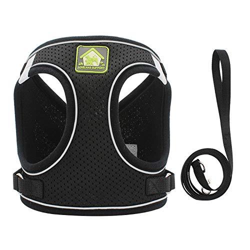 Arnés Reflectante Transpirable Ajustable para Mascotas para Chaleco de arnés para Perros pequeños y Grandes con Parche Personalizado-Black_L_5-7KG