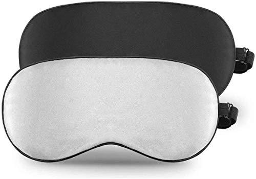 Antifaz Para Dormir, GANA Antifaces para Ojos Máscara de Dormir Silk Sleep Mask Anti-Luz para Adultos y Niños con Ajustable Correa (2pcs negro y gris)