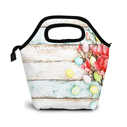 Bolsa Térmica Comida Bolsas De Almuerzo para Mujeres Hombres Niñas Niños Bolsa Isotérmica De Almuerzo Vacaciones Huevos de Pascua Flor
