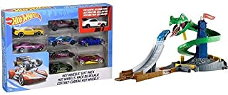 Hot Wheels 9-Car Gift Pack (Styles May Vary) AND Hot Wheels City Cobra Crush Playset [Amazon Exclusive]