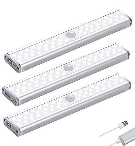 46 LED Schrankbeleuchtung mit Bewegungsmelder Schrankbeleuchtungen mit Magnetstreifen,3 Helligkeitsstufen Intelligente LED Küchenleuchte Auto/ON/OFF für Küche,Kleiderschrank,Treppe,RV (3 Stück)