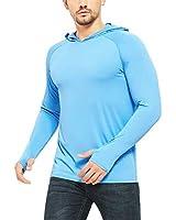 Safort Men's UPF 50+ Sun Protection Hoodie Long Sleeve T-Shirt for Running, Fishing, Hiking, Blue L