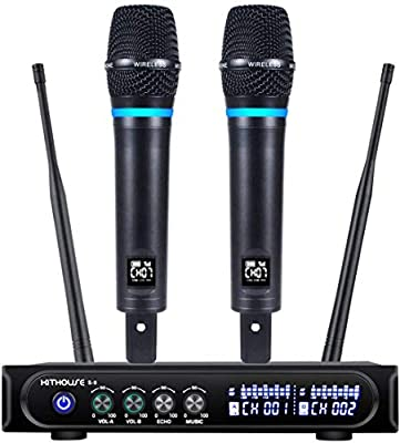Kithouse S9 UHF Rechargeable Wireless Microphone System Karaoke Microphone Wireless Mic Cordless Dual with Bluetooth Receiver Box + Volume Control ECHO for Karaoke Singing Speech Meeting Church