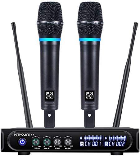 Kithouse S9 Funkmikrofon Set, UHF wiederaufladbares Kabelloses Mikrofon mit Bluetooth-Empfängerbox + Lautstärkeregler ECHO für Familien Karaoke Party Treffen